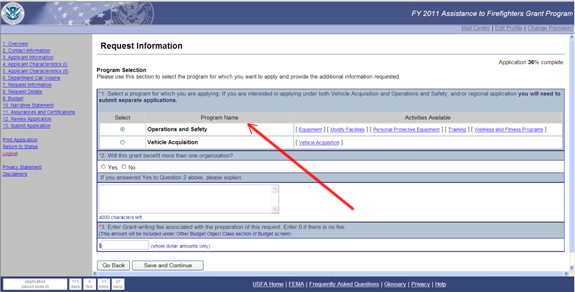 Image of a screenshot of application portal with a red arrow pointing at instructions on how to write a narrative