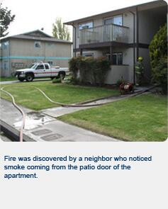 Fire was discovered by a neighbor who noticed smoke coming from the patio door of the apartment.