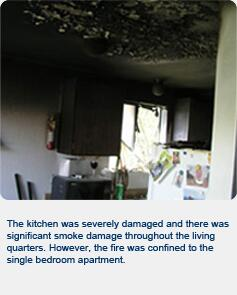 The kitchen was severly damaged and there waws signifcant smoke damage throughout the living quarters. However, the fire was confined to the single bedroom apartment.