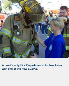 A Lee County Fire Department volunteer trains with one of the new SCBAs.