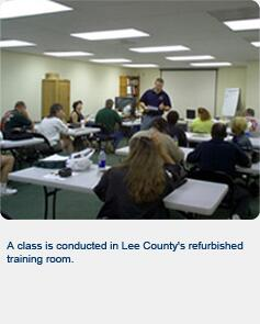 A class is conducted in the Lee County's refurbished training room.