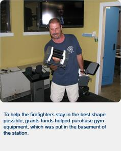 To help firefighters stay in the best shape possible, grant funds helped purchase gym equipment, which was put in the basement of the station.