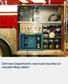 DeForest Department's new truck-mounted air cascade filling station.