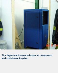 The department's new in-house air compressor and containment system.