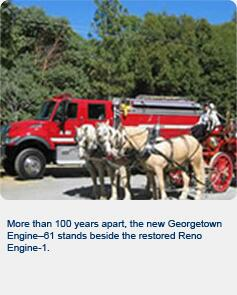 More than 100 years apart, the new Georgetown Engine-61 stands beside the restored Reno Engine-1.