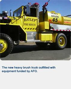 The new heavy brush truck outfitted with equipment funded by AFG.