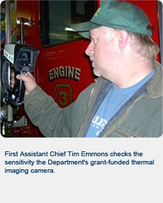 First Assistant Chief Tim Emmons checks the sensitivity of the Williamstown Fire Department's grant-funded thermal imaging camera.