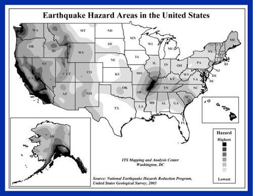 Map of eathquake hazard areas in the united states