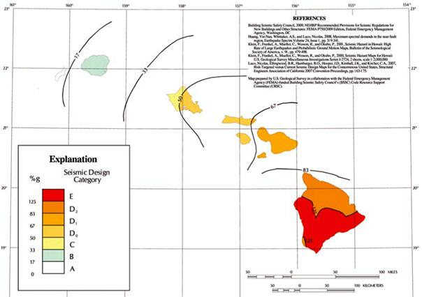 SDC map of Hawaii for low-rise Occupancy Category I and II structures located on sites with average alluvial soil conditions.