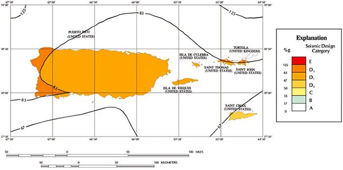 SDC map of Puerto Rico, the United States Virgin Islands, and Tortola for low-rise Occupancy Category I and II structures located on sites with average alluvial soil conditions.