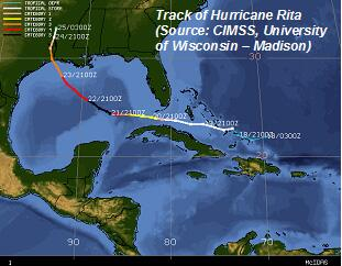 Image of Hurricane Rita Track
