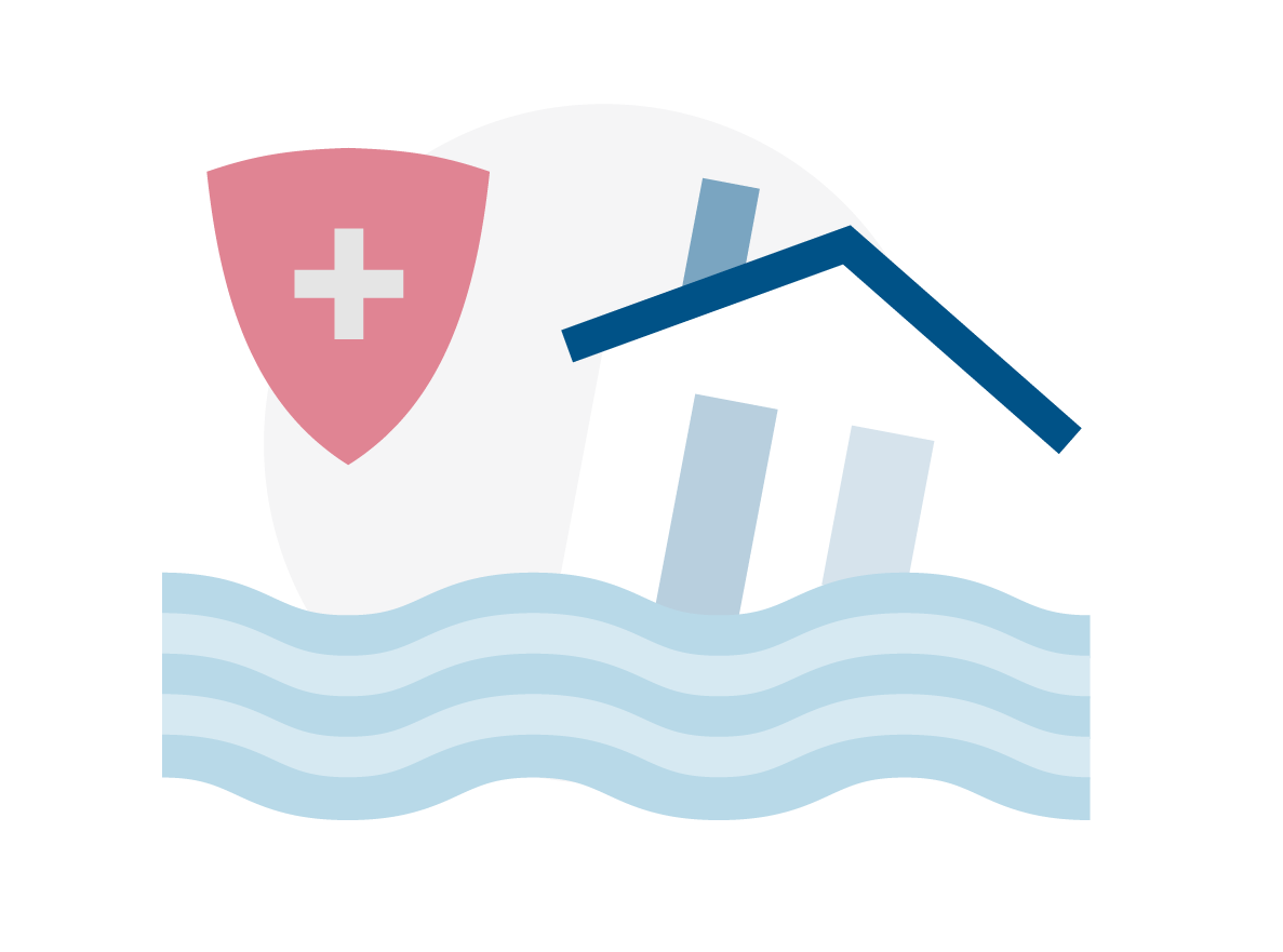 Illustration of a home in a flood with a health shield