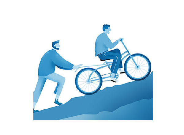 Illustration of a person pushing another person on a bike up a hill
