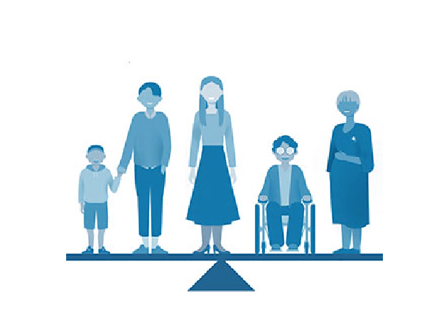 Illustration of 5 people of mixed races, ages & sexes (from left to right child, two adults, adult in wheelchair, elderly person) standing on a balance beam balanced.