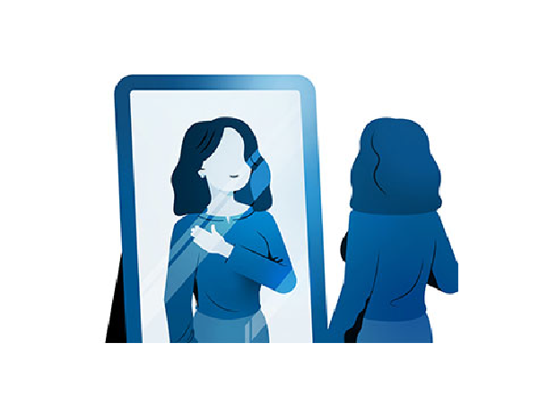 Illustration of a woman with her hand across her chest looking in the mirror