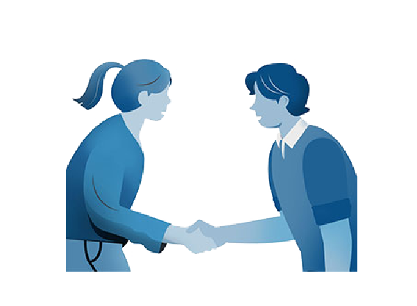 Illustration of a woman and man shaking hands