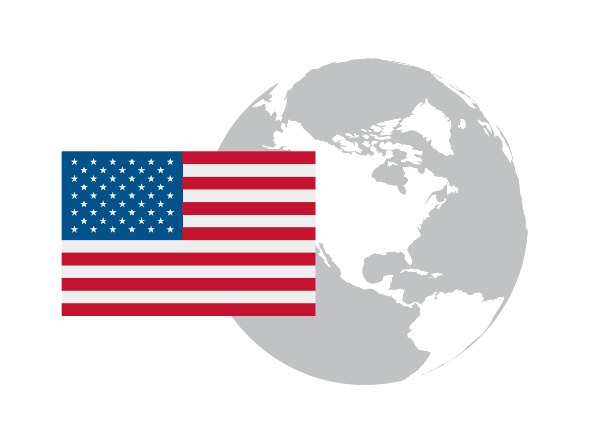 Illustration of the U.S. Flag on the world globe showing North America