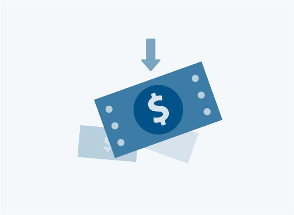Icon of a dollar bill and an arrow pointing down