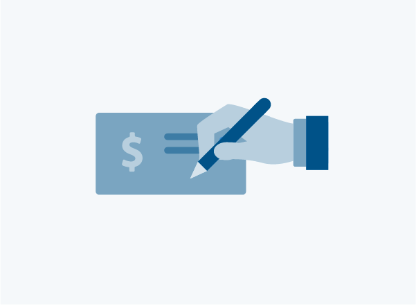 Icon of hand writing a check