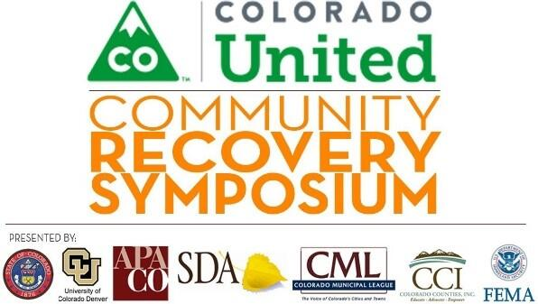 Colorado United Community Recovery Symposium logo  and the logos of partner organizations the state of Colorado, University of Colorado Denver, APA CO, SDA, Colorado Municipal League, Colorado Counties Inc and FEMA