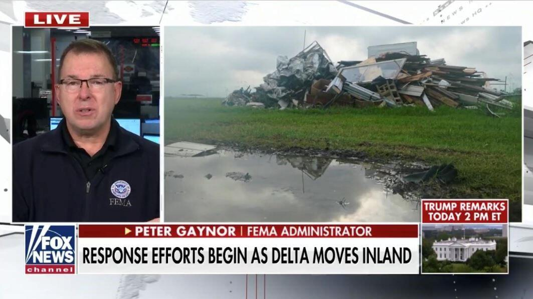 pete gaynor on the left and hurrican delta damage on the right