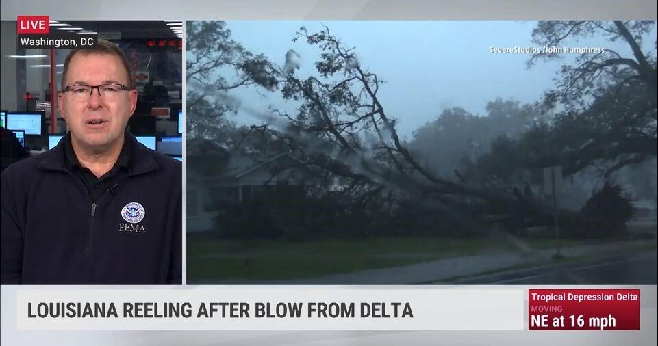 Pete gaynor talking on the left and hurricana delta damage on the right