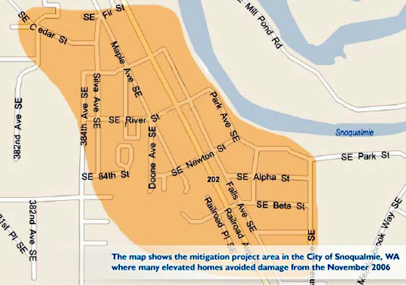 The map shows the mitigation project area in the City of Snoqualmie, Washington where many elevated homes avoided damage from the November 2006 flood