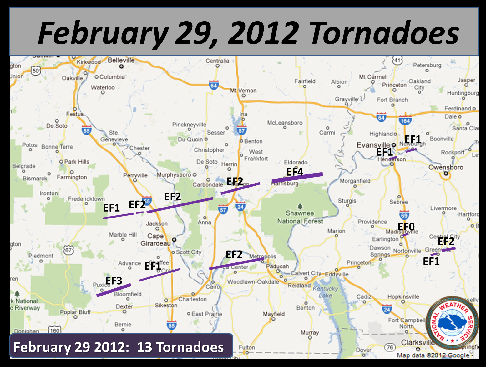 The Storms the morning of February 29th caused 13 tornadoes across souther Illinois. Source: National Weather Service