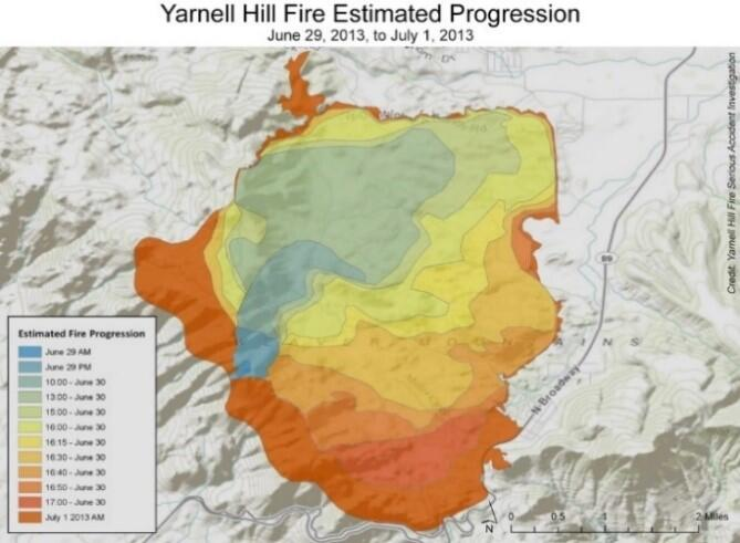 A map of the Yarnell Hill fire estimated progression.