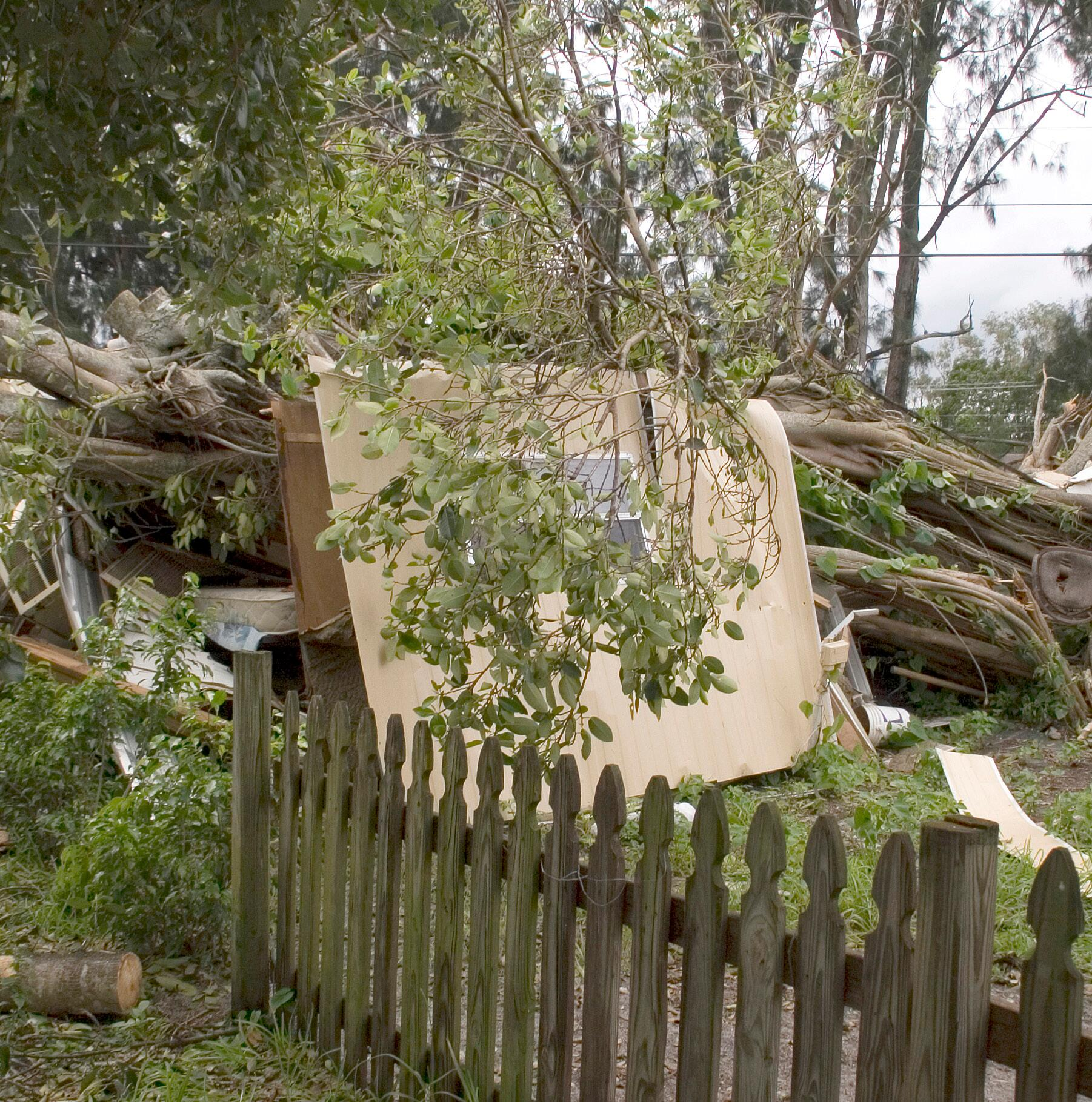 Damaged fence with debris and downed trees as a result of hurricane wind from Katrina.