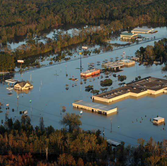 High flood waters impacted businesses in Kinston, North Carolina.