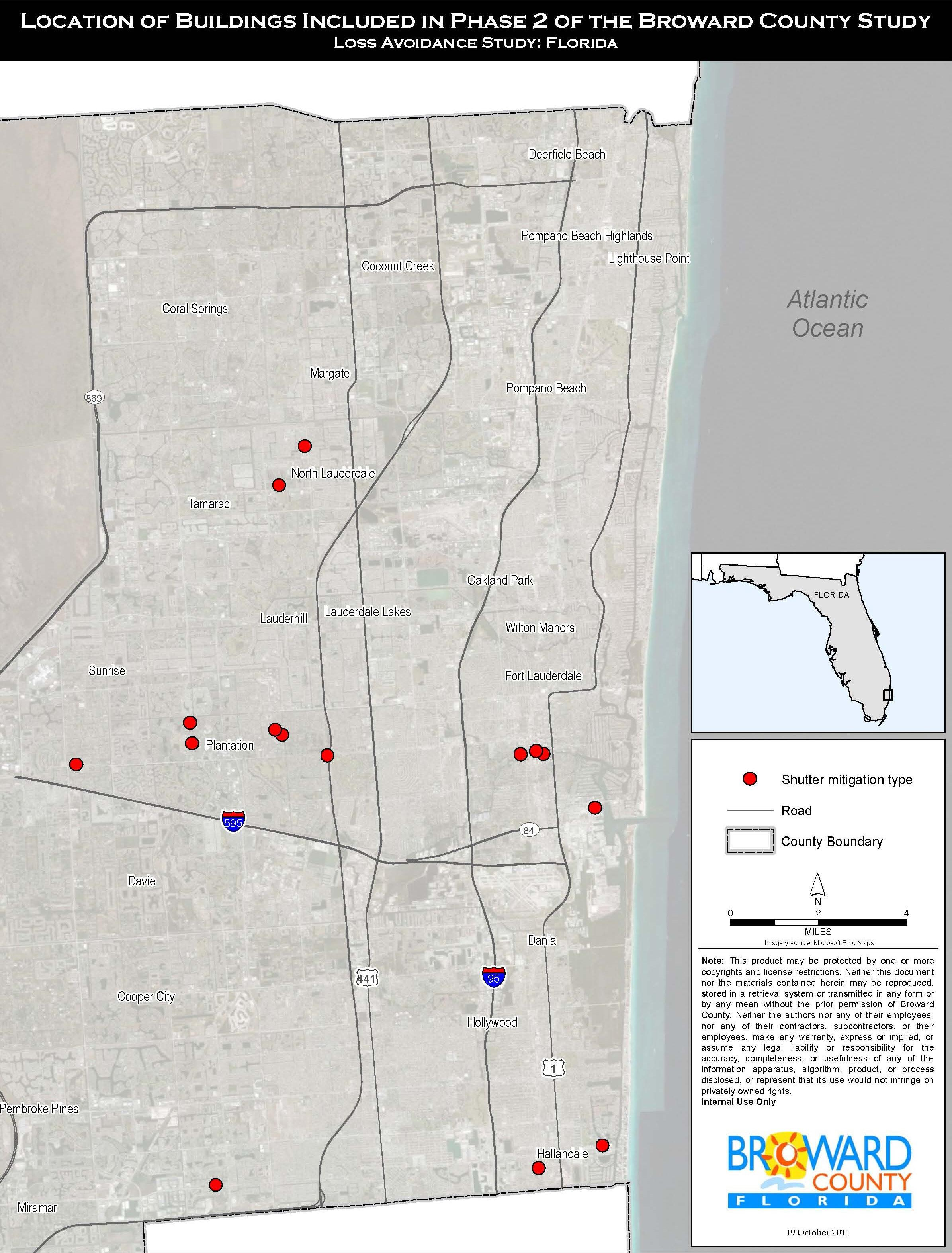 Location of Buildings Included in Phase 2 of the Broward County Study. Loss Avoidance Study: Florida. Locations of shutter mitigation type shown as well as roads and county boundaries.