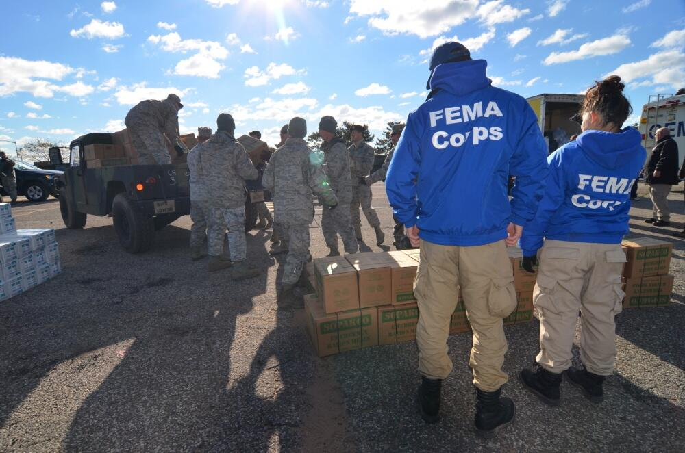 FEMA Corps Students working with Military Personnel