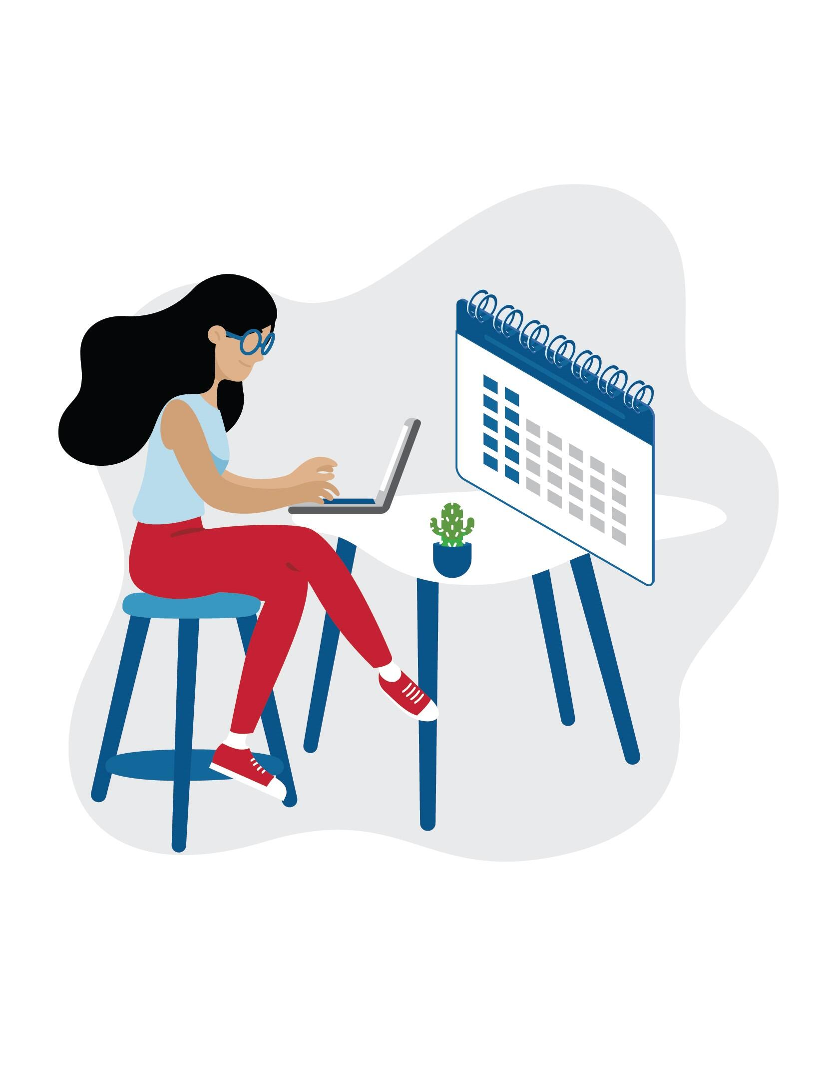 Graphic of a women sitting at a desk. The woman is typing on a computer.