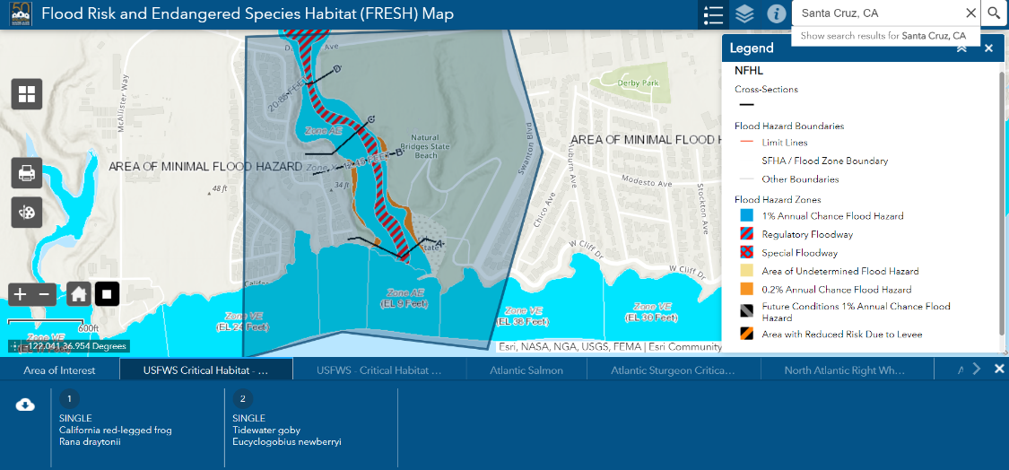 Sample graphic from the Flood Risk and Endangered Species Habitat (FRESH) web-based mapping tool