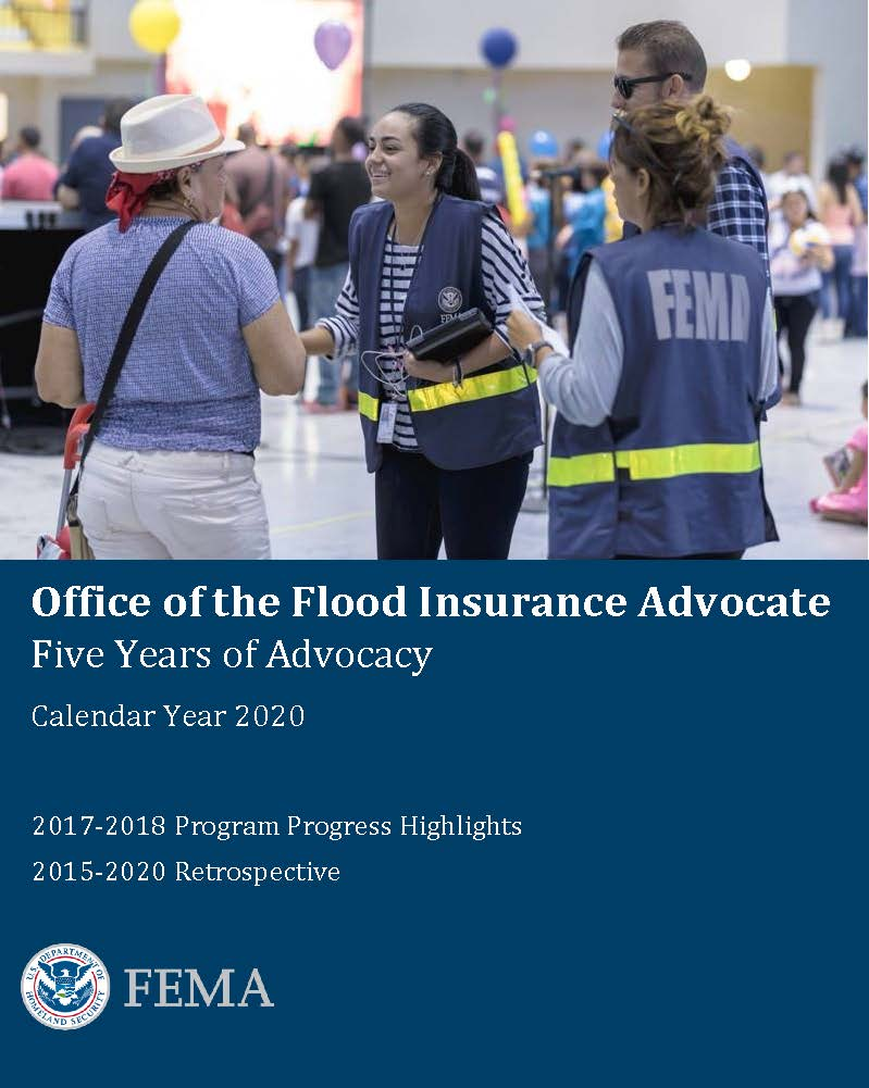 The cover page of the Office of the Flood Insurance Advocate - Five Years of Advocacy - 2020. Image includes a three women standing next to each other talking and the the title and subtitles of the pdf.