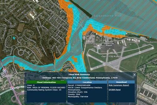 Image of the Pennsylvania Flood Risk Tool app interface
