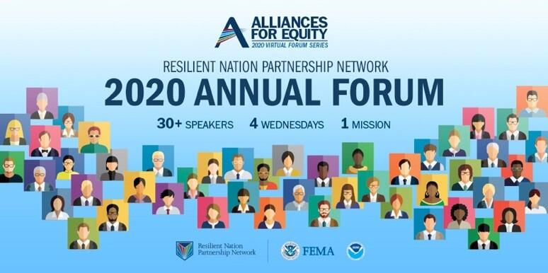 Resilient Nation Partnership Network 2020 Annual Forum Graphic will host 30 speakers on 4 Wednesday. Pictures of 30 pixilated photos of humans.