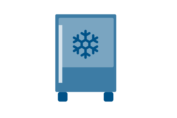 A blue fridge illustration with a snow flake on it