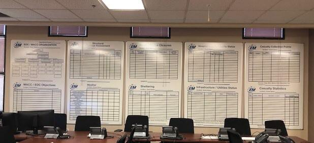 Standardized EOC boards used in each EOC in the Las Vegas urban area.