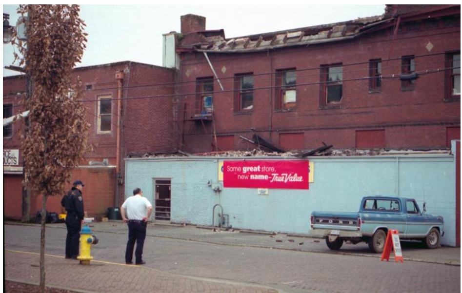 Damage at the back of the TrueValue building in downtown Centralia following the Nisqually Earthquake in 2001.