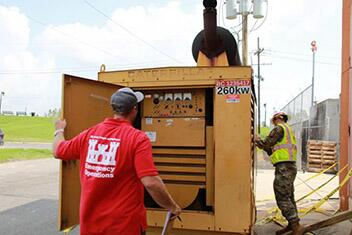 U.S. Army Corps of Engineers support the FEMA-assigned Temporary Emergency Power Mission as part of the Hurricane Ida response in southeastern Louisiana. Servicemen inspect a generator at a water treatment plant.
