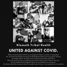A collage of members of the Klamath Tribal receiving the the COVID-19 Vaccine.